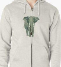 Elephant Full Illustration Zipped Hoodie
