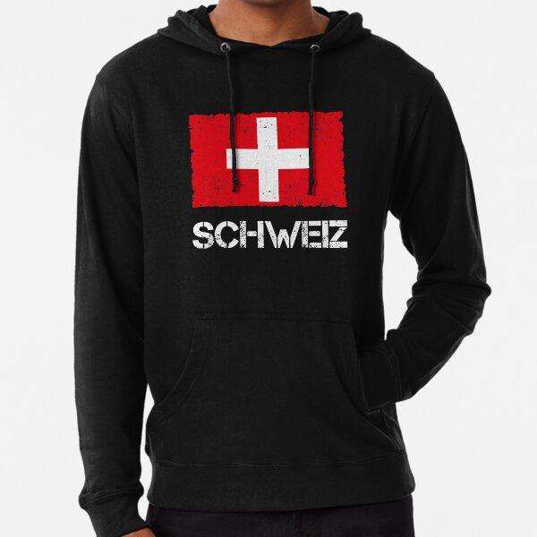 Schweiz Flagge Used Look Vintage Leichter Hoodie