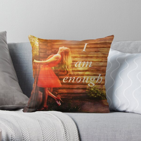 I am enough woman at fence Throw Pillow