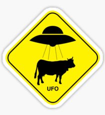 UFO traffic hazard sign Sticker