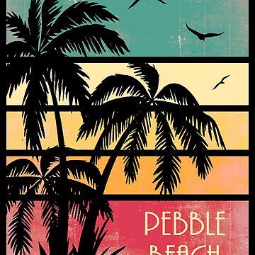 Pebble Beach Vintage Sonnenuntergang von Boy-With-Hat
