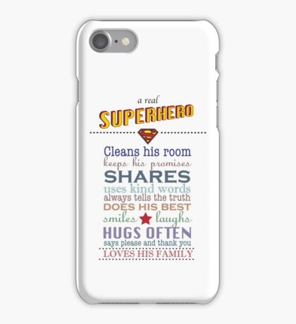 real superhero - family plaque in white iPhone Case/Skin