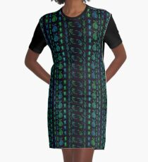 Neon Insect Stripes 1  Graphic T-Shirt Dress