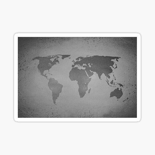 Vintage black and white world map Sticker