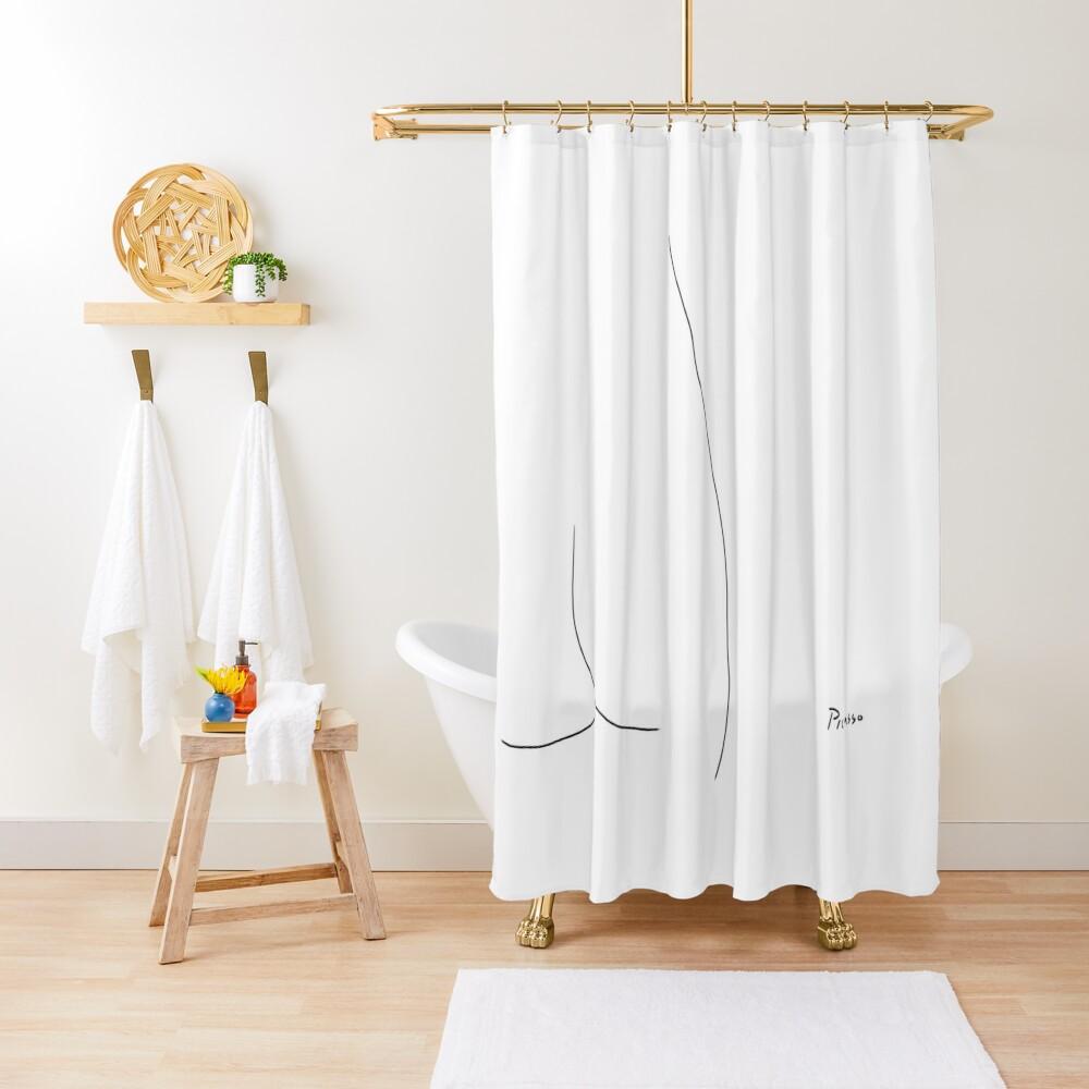 Picasso Line Art - Butt Shower Curtain