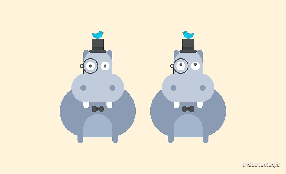 Cute Kawaii Gentleman Hippos by thecutemagic