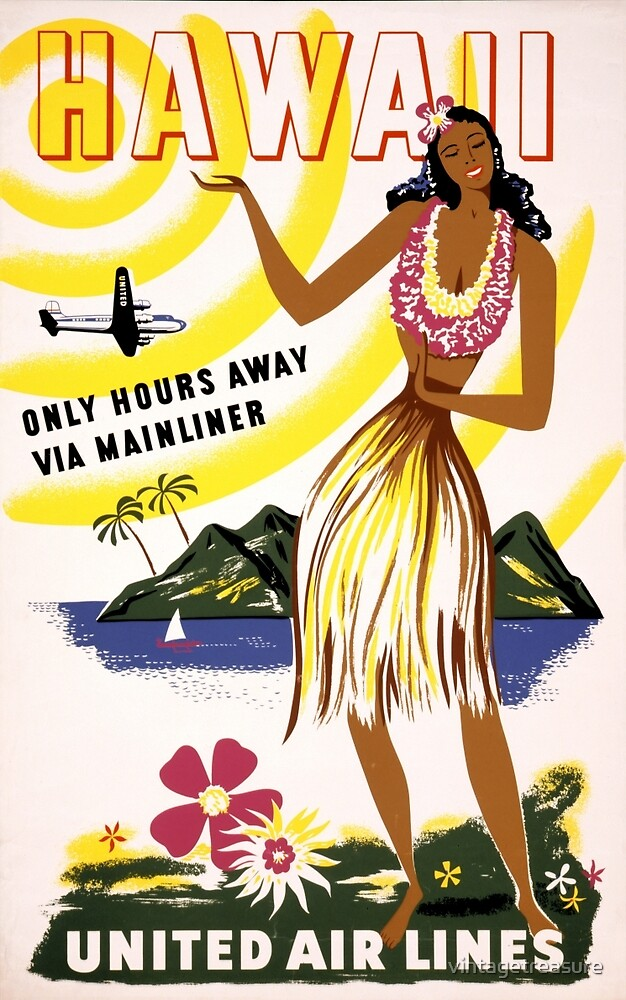 Hawaii Vintage Travel Poster Restored by vintagetreasure
