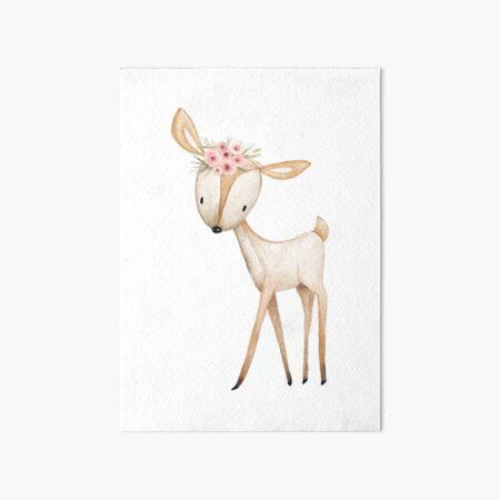 Boho Floral Woodland Deer Art Board Print