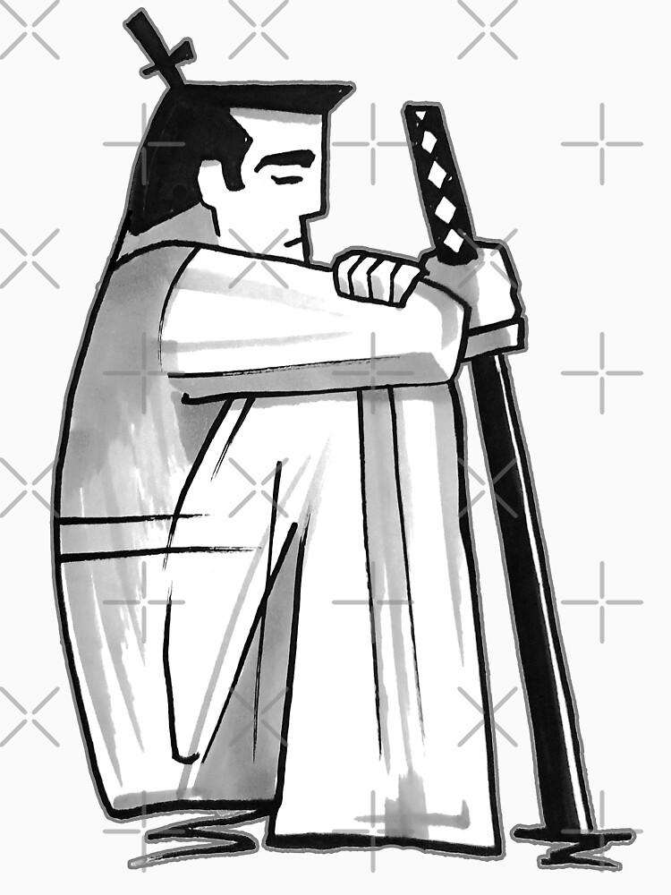 Samurai Jack™ in Black and White Contemplation by sketchNkustom