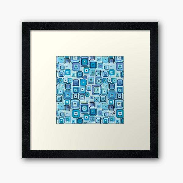Watercolour Squares Blue Amanya Design Framed Art Print