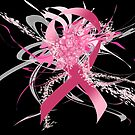 Pink Flower Ribbon black by mjvision Mia Niemi by mjvisiondesign
