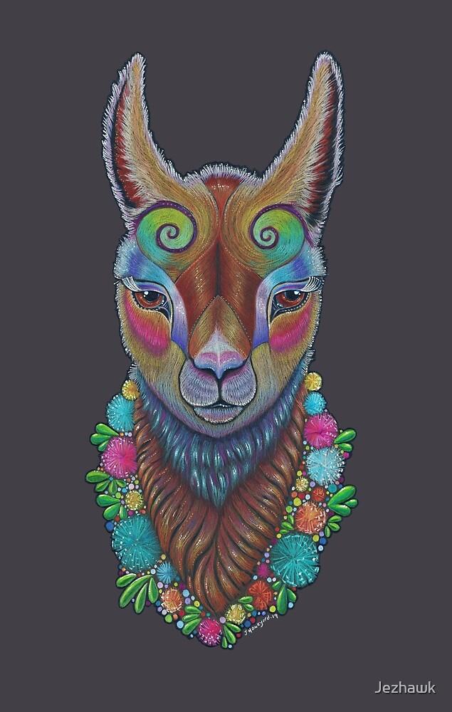 Llama Totem, Cute Llama Art, Colourful Llama Illustration by Jezhawk
