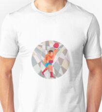 Boxer Boxing Punching Circle Low Polygon Unisex T-Shirt