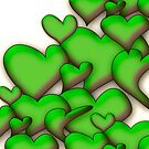 Green Hearts white by mjvision Mia Niemi by mjvisiondesign