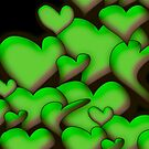 Green Hearts black by mjvision Mia Niemi by mjvisiondesign