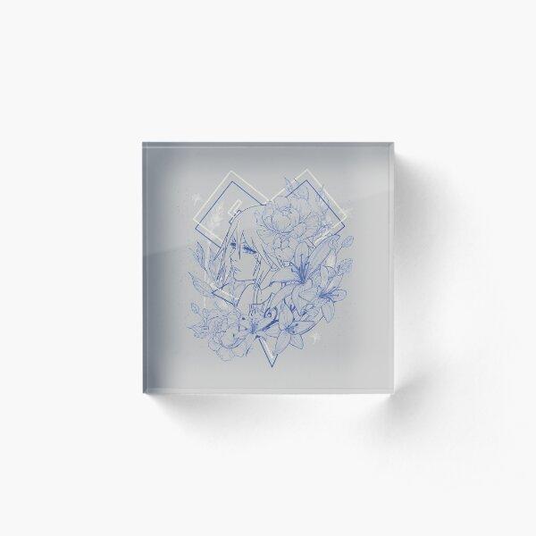 Blossom - Aqua Acrylic Block