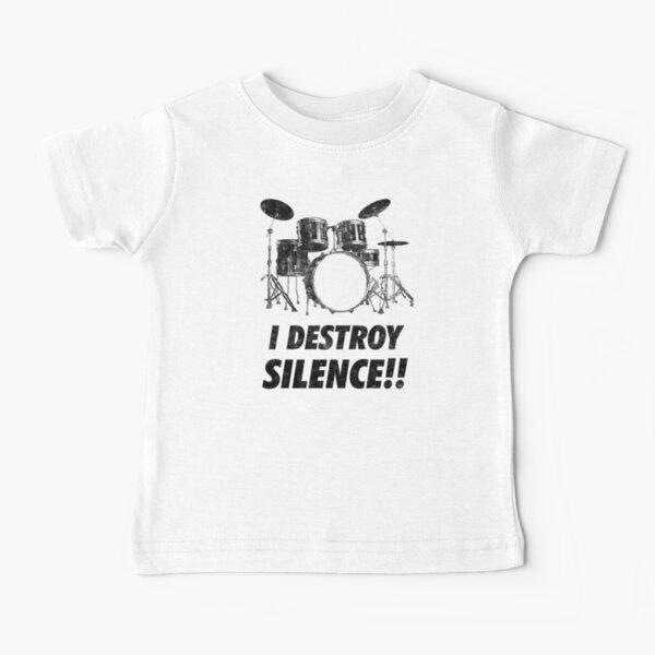 Destroy Silence Funny Drummer Drums Camiseta para bebés
