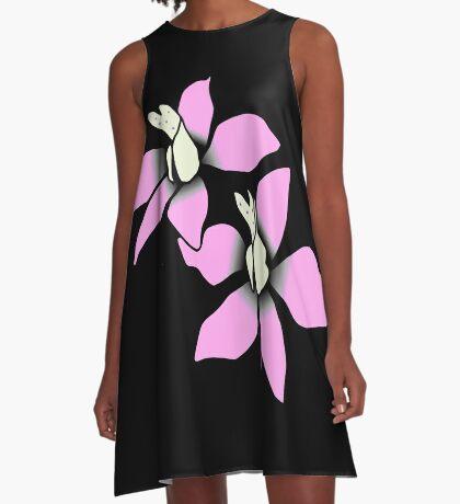 wundervolle pinke Blüten, Blumen, pink, rosa A-Linien Kleid