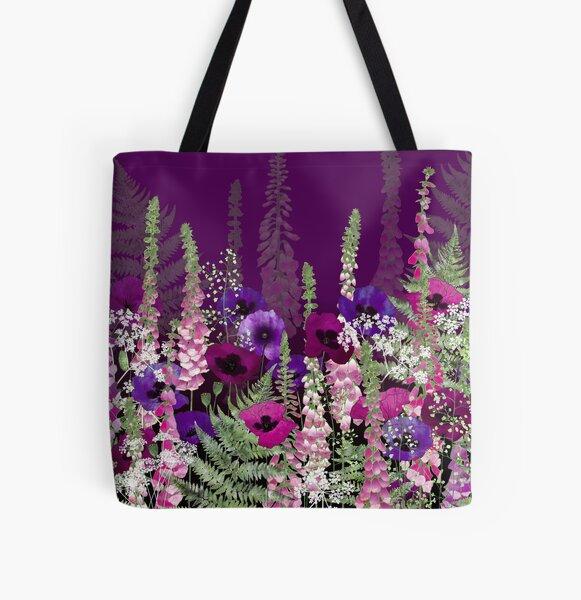 Flower Garden - Purple Poppies, Pink Foxgloves & Bracken All Over Print Tote Bag