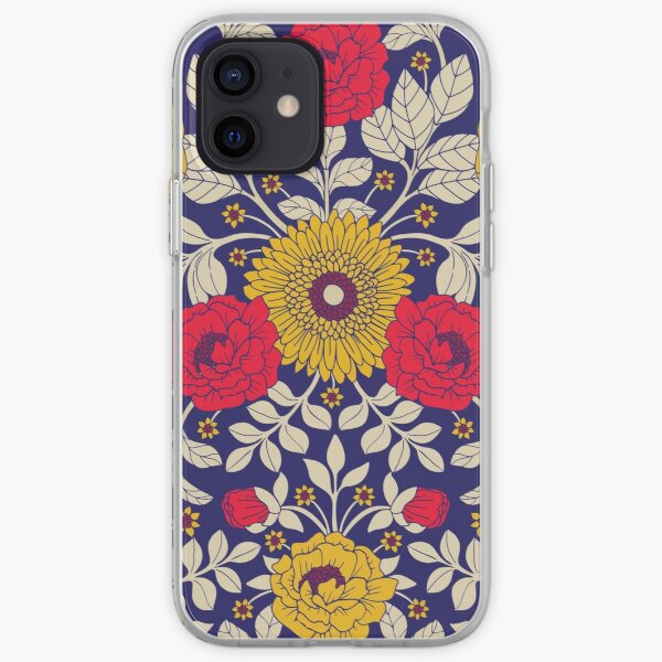 Modern Floral In Red, Yellow, Blue & White iPhone Soft Case