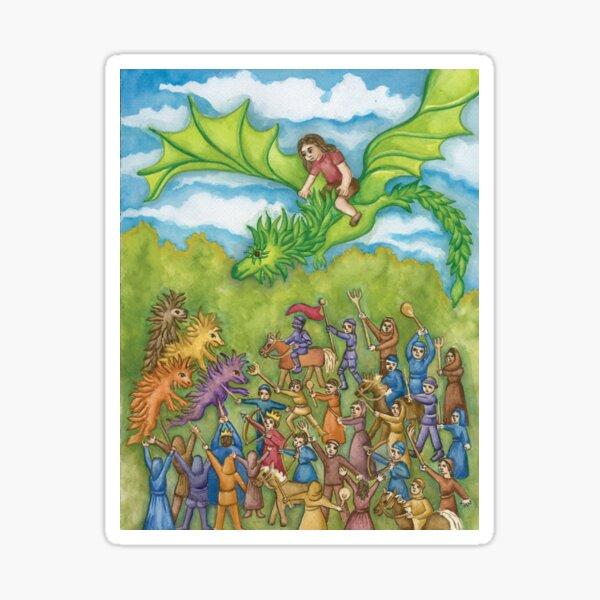 Ingeborg Flying on Esmeralda the Dragon Sticker