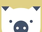 Peek-a-Boo Pig, Navy and Gold by Kendra Shedenhelm