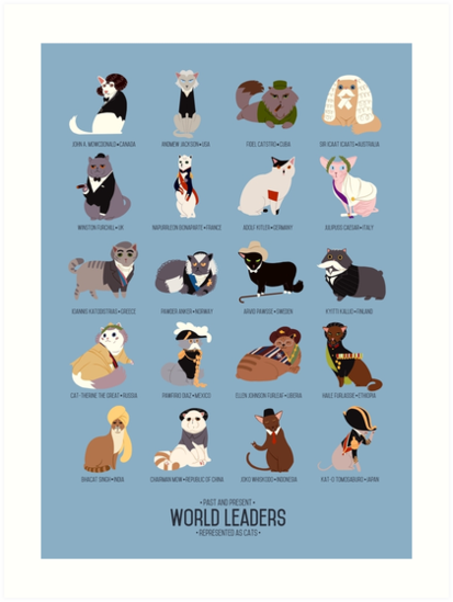 Cat World Leaders by AnadaptaArt