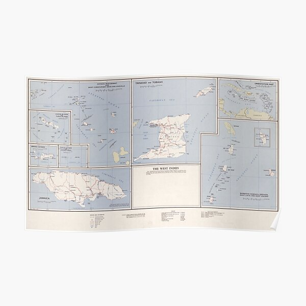 Vintage Map of The West Indies (1958) Poster