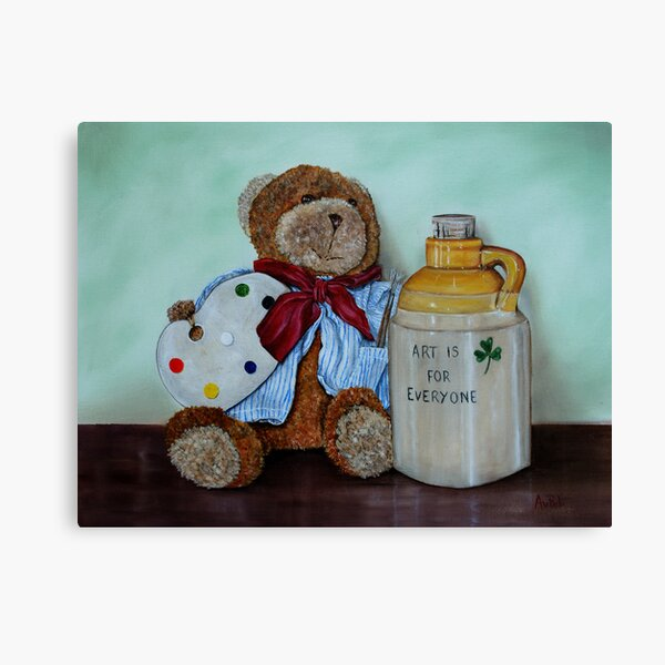 """""""Teddy Bear Artist"""" - oil painting Canvas Print"""