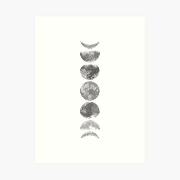 Moon Phases Black & White Art Print