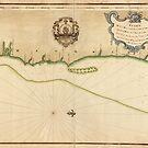 «Mapa vintage de la costa de Costa Rica (1758)» de BravuraMedia