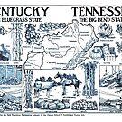 «Mapa ilustrativo vintage de Kentucky y Tennessee (1912)» de BravuraMedia