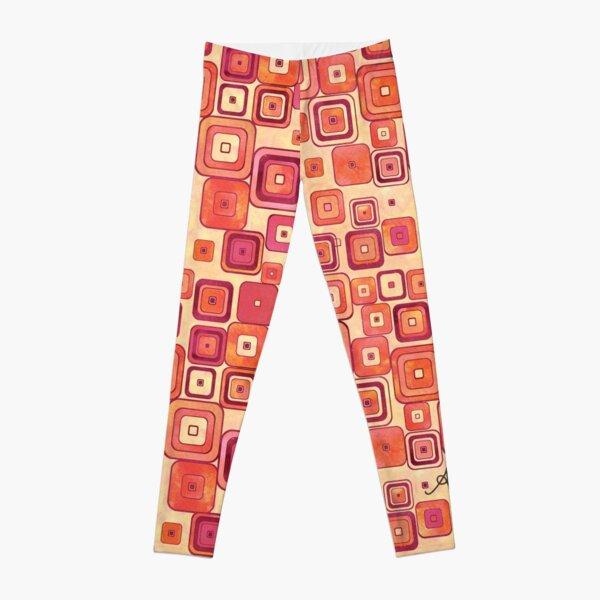 Watercolour Squares Red Amanya Design Leggings