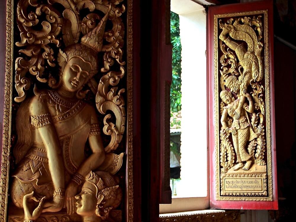 Buddhist Wood Carvings - Vientiane, Laos. by Tiffany Lenoir