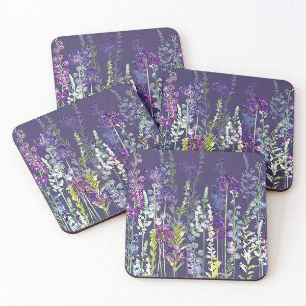 Purple Flower Meadow - Alliums, Delphiniums & Veronica Gentianoides Coasters (Set of 4)