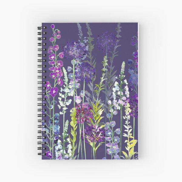 Purple Flower Meadow - Alliums, Delphiniums & Veronica Gentianoides Spiral Notebook