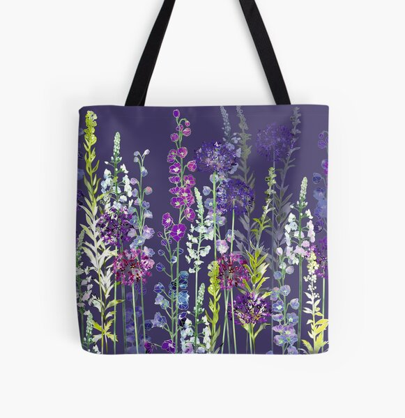 Purple Flower Meadow - Alliums, Delphiniums & Veronica Gentianoides All Over Print Tote Bag