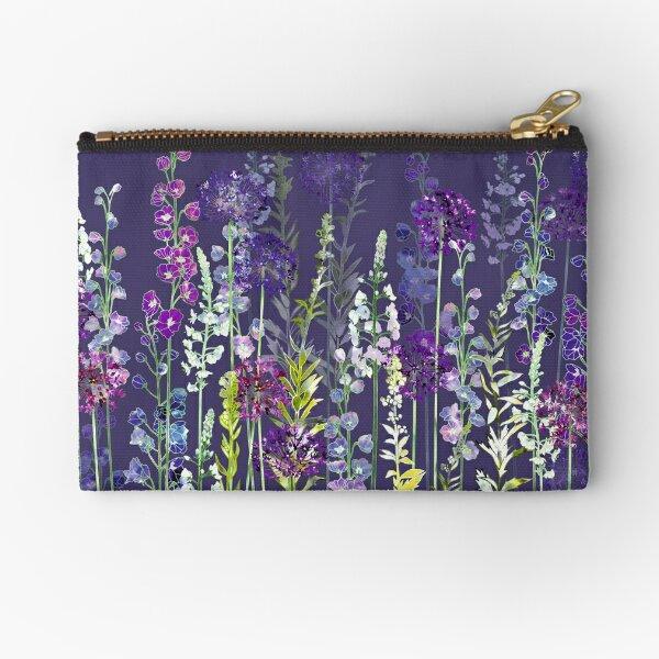 Purple Flower Meadow - Alliums, Delphiniums & Veronica Gentianoides Zipper Pouch