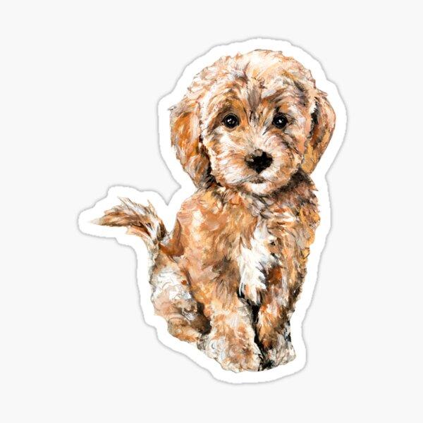 Poodle/ Goldendoodle Puppy Watercolor Illustration Sticker
