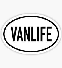 Pegatina Vanlife Diseño Oval Blanco y Negro
