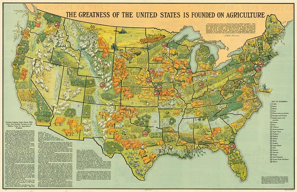 «Mapa Agrícola de Estados Unidos Vintage (1922)» de BravuraMedia