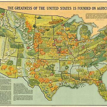 Mapa Agrícola de Estados Unidos Vintage (1922) de BravuraMedia