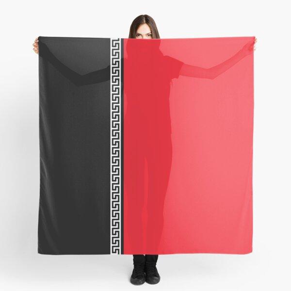 Greek Key Verticle - Black and Red Scarf