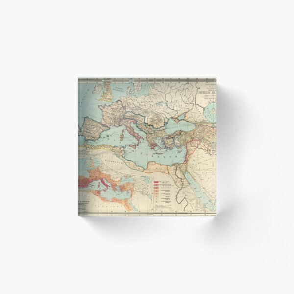 Vintage Map of The Roman Empire (1889) Acrylic Block