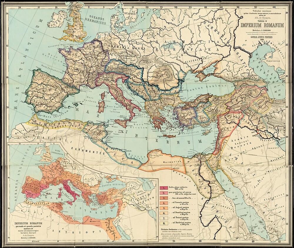«Mapa vintage del imperio romano (1889)» de BravuraMedia