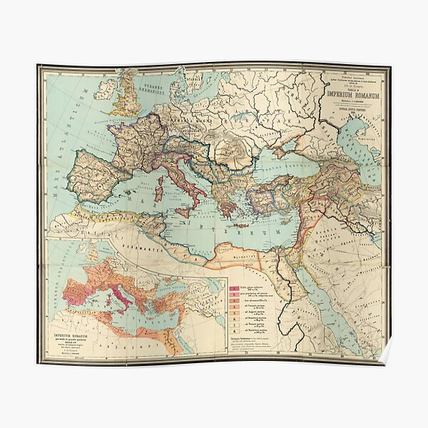 Vintage Map of The Roman Empire (1889) Poster