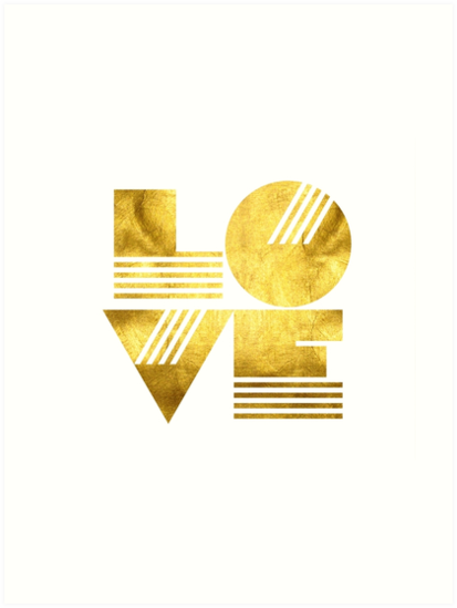Golden LOVE Typography Art by milalala