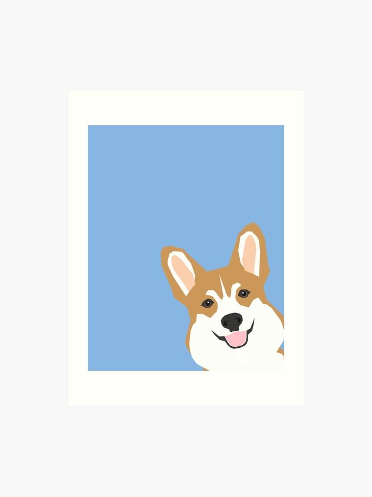 5d60bd07c842 Corgi Peek cute dog welsh corgi gift unique pet customizable gifts for dog  lovers Art Print