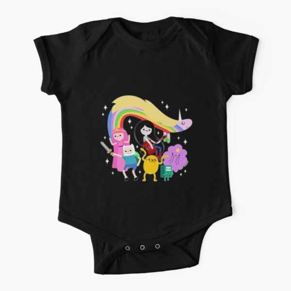 Adventure Time (black background) Short Sleeve Baby One-Piece