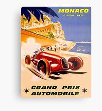 Lienzo metálico MÓNACO; Vintage 1937 Grand Prix Auto Racing Print